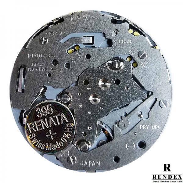 RENDEX, Tachymeter Chrono, Quartzuhr, Keramikband schwarz_10099