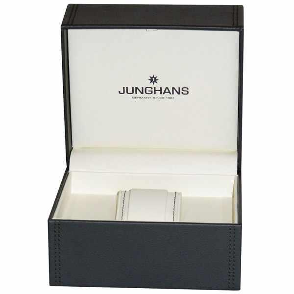 Junghans MAX BILL 35 Handaufzuguhr, Stripes weiss, Milanaiseband_10332