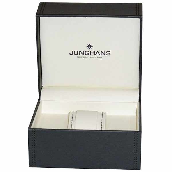 Junghans MAX BILL 35 Handaufzuguhr, Stripes weiss, Lederband_10495