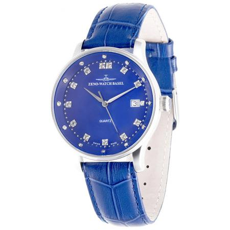 ZENO-WATCH BASEL, Medium Size Crystals, Quartzuhr blau