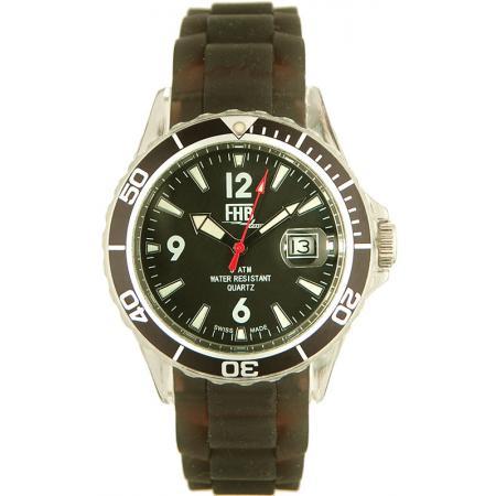 FHB Opaque Fun Watch, Quartz Uhr mit Silikonband, schwarz
