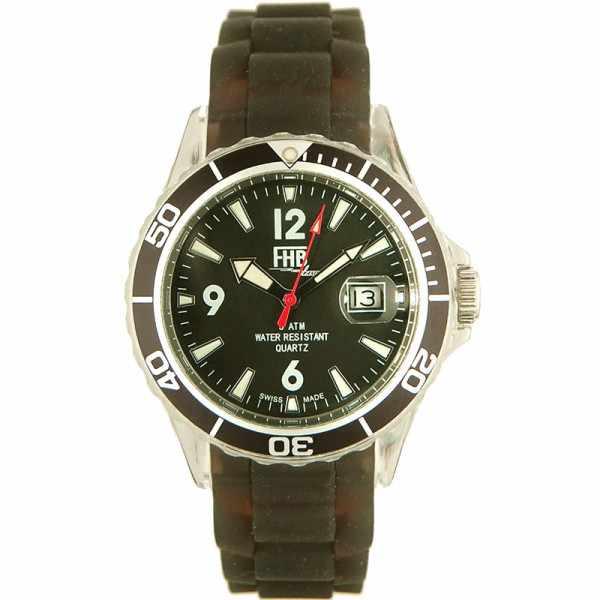FHB Opaque Fun Watch, Quartz Uhr mit Silikonband, schwarz_10828