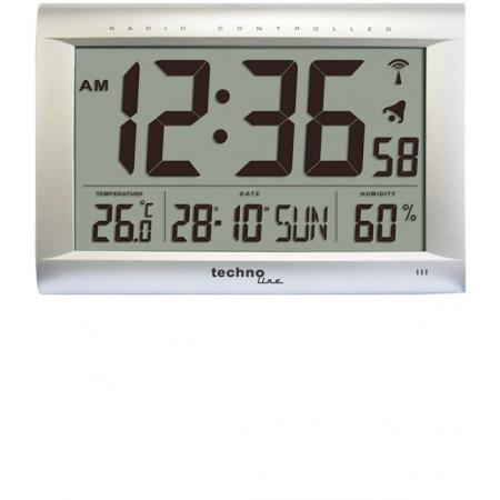 TECHNOLINE XL Digital Jumbo LCD Funk Tisch-Wanduhr, silber