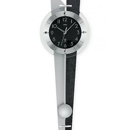 AMS Pendeluhr, Funk Wanduhr, schwarz, Rückwand grau+schwarz_10912