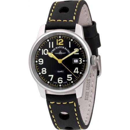ZENO-WATCH BASEL, Pilot Classic, Fliegeruhr Edelstahl schwarz/gelb_10952