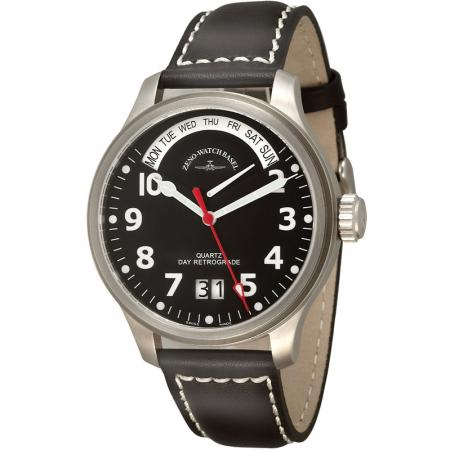 ZENO-WATCH BASEL, Pilot Oversized, XL Quartz Fliegeruhr, Tag und Datum