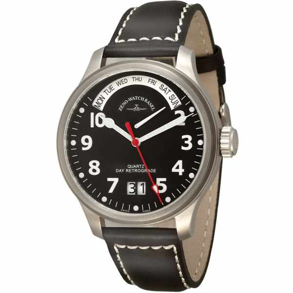 ZENO-WATCH BASEL, Pilot Oversized, XL Quartz Fliegeruhr, Tag und Datum_10954