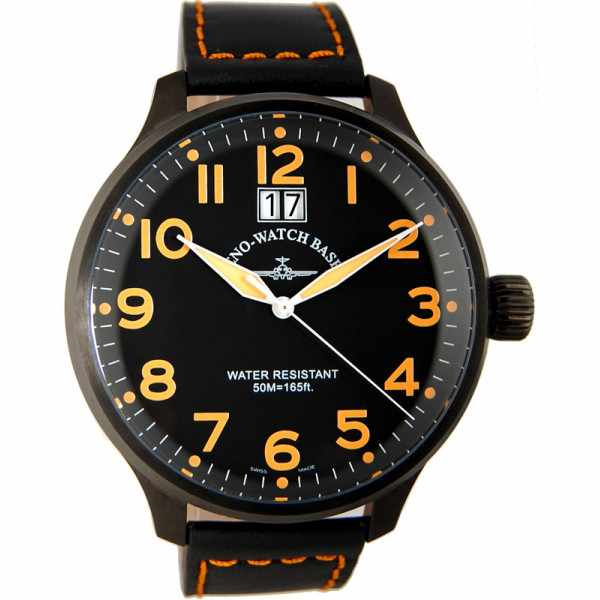 ZENO-WATCH BASEL, Pilot Super Oversized Q, Fliegeruhr, schwarz/orange_10955