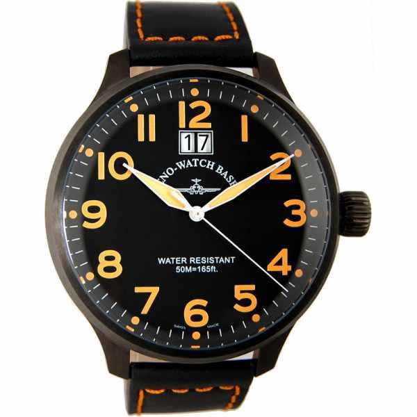 ZENO-WATCH BASEL, Pilot Super Oversized Q, Fliegeruhr, schwarz/orange_10955