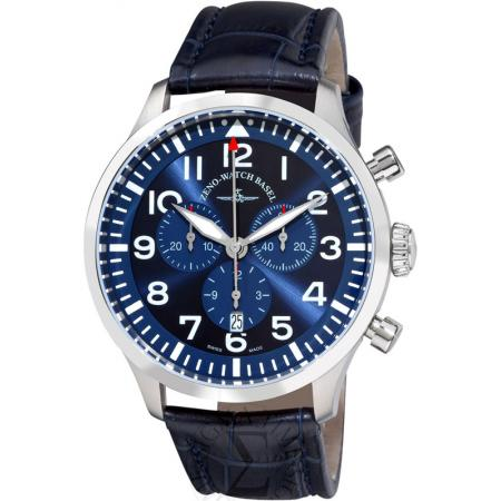 ZENO-WATCH BASEL, Pilot Navigator, Quartz Flieger Chrono, blau_10963