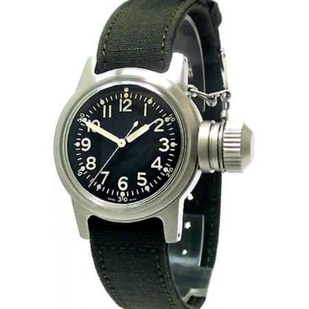 ZWB Navy Vintage Military, Handaufzuguhr, grosser Überkrone, schwarz