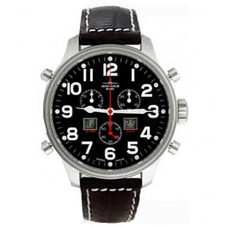 ZENO-WATCH BASEL, Pilot Oversized XL Fliegeruhr, Chrono-Alarm Ø 42mm