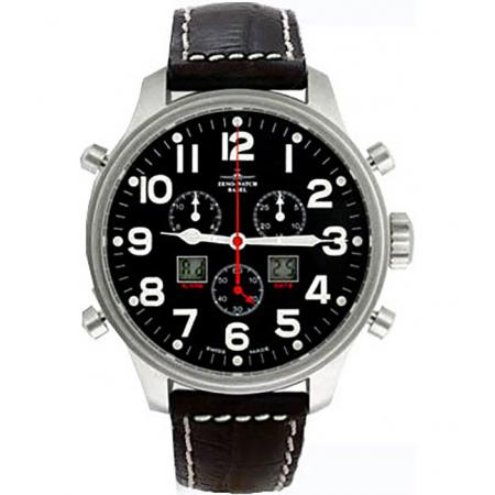 ZENO-WATCH BASEL, Pilot Oversized XL Fliegeruhr, Chrono-Alarm Ø 47.5mm