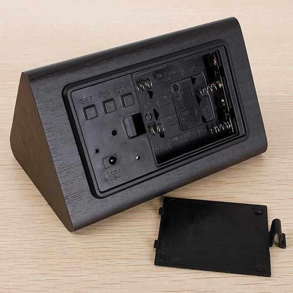 ATLANTA Wood Touch kleine Tischuhr, 3 Alarme + Thermometer schw_11274