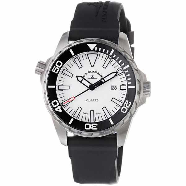 ZENO-WATCH BASEL, Pro Diver II, XL Quartz Taucheruhr weiss_1156