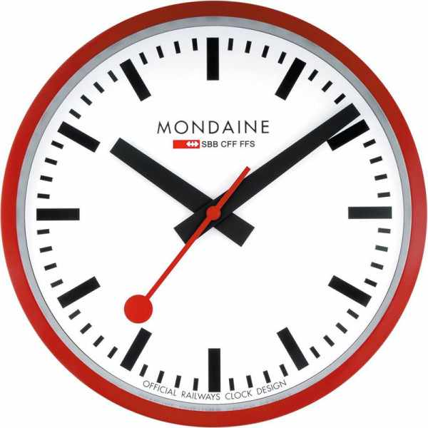 MONDAINE, Wall Clock, original SBB Bahnhofswanduhr, rot/weiss_12238