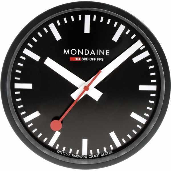 MONDAINE Wall Clock original SBB Bahnhofswanduhr, schwarz_12239