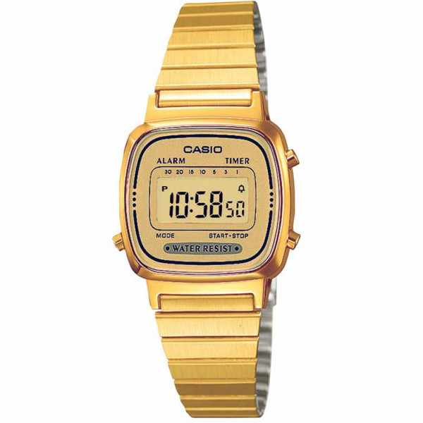 CASIO, Retro, LCD, WEGA LADY, Digitaluhr, gold_1249