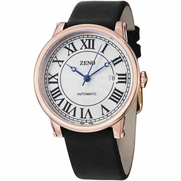 ZENO Retro Roma Art Deco XL, Automatik Uhr, rosé vergoldet_12734