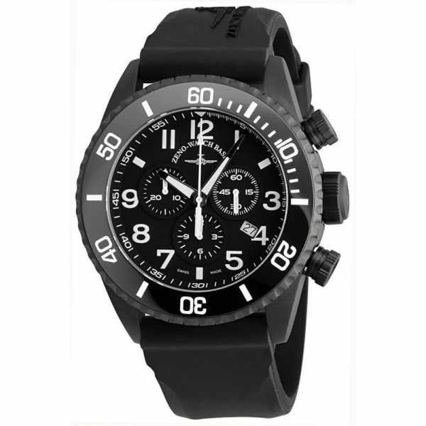 ZENO-WATCH BASEL, Diver Ceramic Chrono Quartz, Stahl schwarz_1274