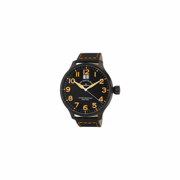 ZENO-WATCH BASEL, Pilot Super Oversized Q, Fliegeruhr, schwarz/orange_1276