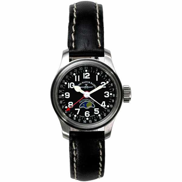 ZENO-WATCH BASEL, Pilot Lady, Automatik Fliegeruhr Mondphase_12960