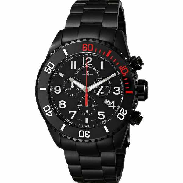 ZENO-WATCH BASEL, Diver Ceramic Chrono Quartz, Stahl schwarz/rot MB_13613