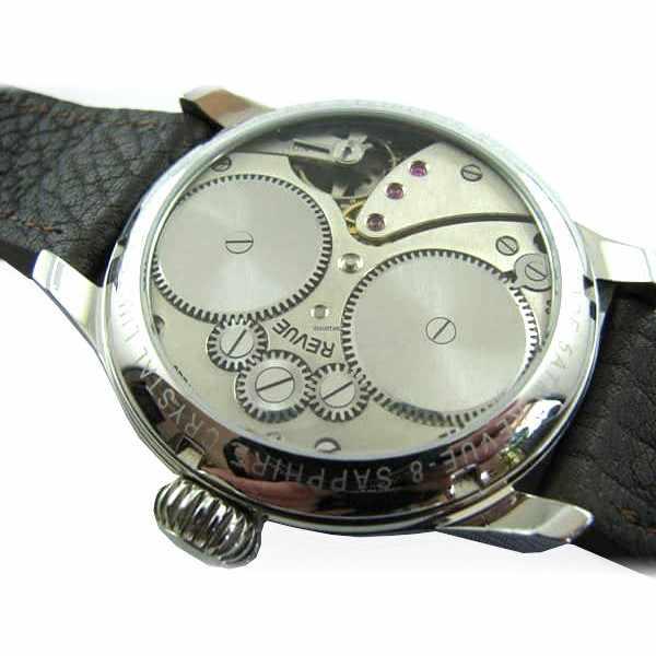 ZENO-WATCH BASEL, Retro Revue, Handaufzug Uhr mit altem 8 Tagewerk_13890