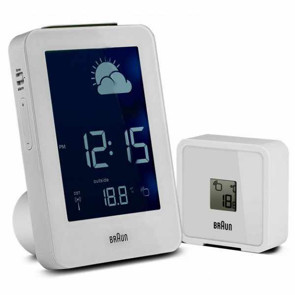 BRAUN, Wetterstation, Funkwecker mit Thermometer, weiss_140