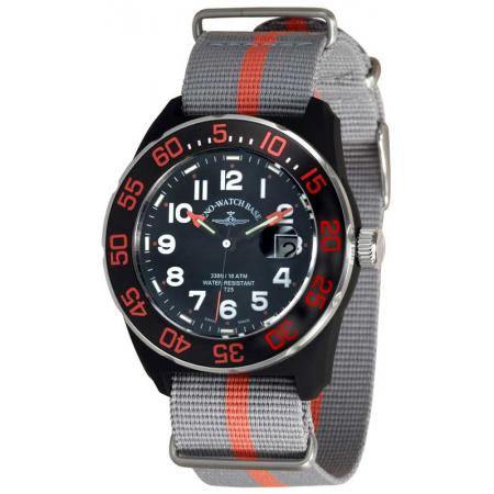 ZENO-WATCH BASEL, H3 Diver Teflon, Lumi-Sportuhr, Nylon grau/orange