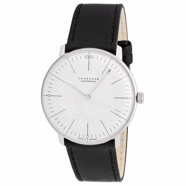 Junghans MAX BILL 38 Automatikuhr, Stripes weiss, Lederband_1425