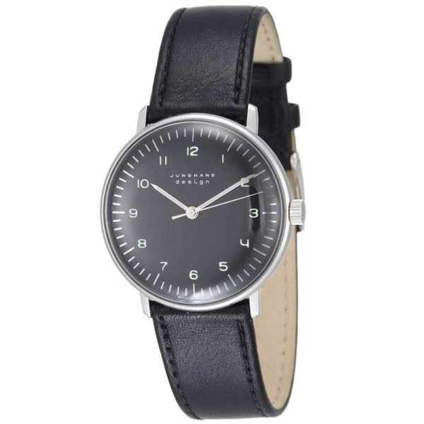 Junghans, MAX BILL 35 Handaufzuguhr, Numbers schwarz, Lederband_1430