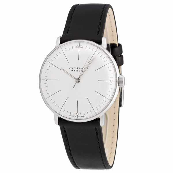 Junghans MAX BILL 35 Handaufzuguhr, Stripes weiss, Lederband_1432