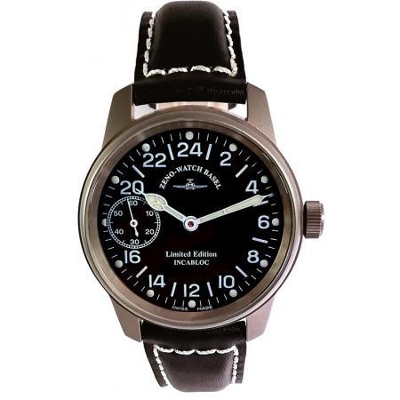 ZENO-WATCH BASEL, Pilot Classic Titan, Handaufzug 24 Stundenanzeige_14433