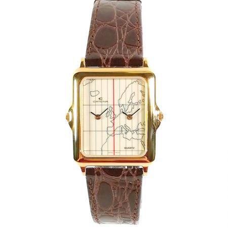 CATENA, Dual-Time Quartz, Zweizeitenuhr vergoldet_14473