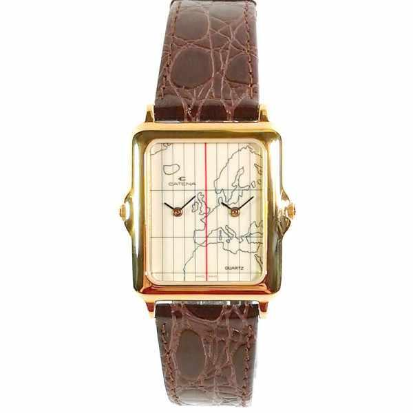 CATENA Dual-Time Quartz, Zweizeitenuhr vergoldet_14473
