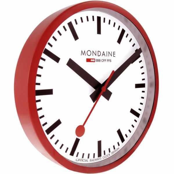MONDAINE, Wall Clock, original SBB Bahnhofswanduhr, rot/weiss_1453
