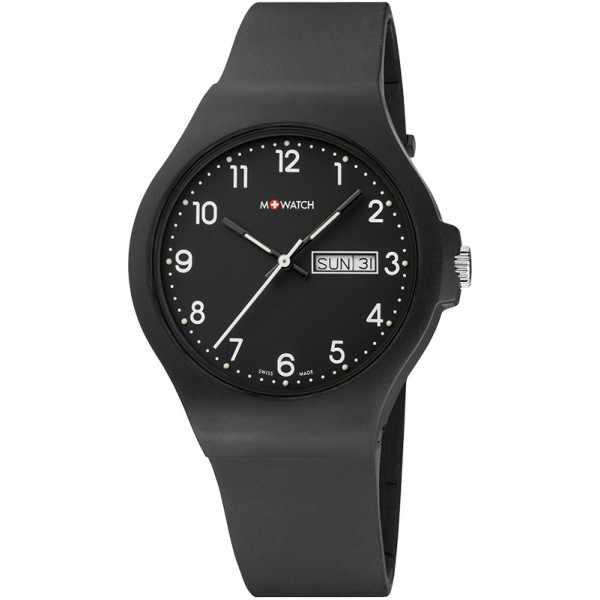 M-WATCH Core 42, Schweizer XL Quartzuhr Tag Datum schwarz_14559