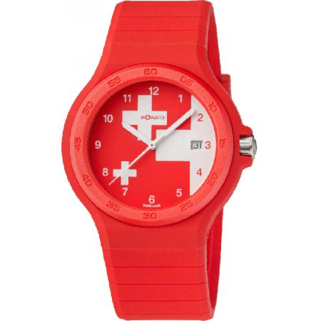 M-WATCH Maxi 42, Schweizer XL Quartzuhr, rot_14644