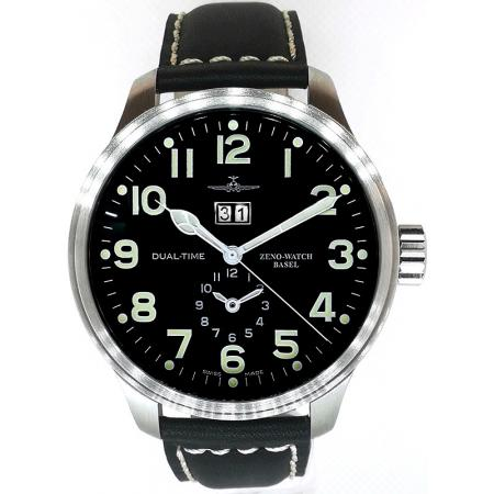 ZENO-WATCH BASEL, Pilot Oversized, XL DualTime Big Date
