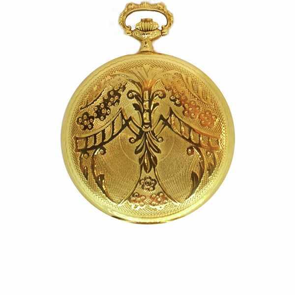 Klassik Taschenuhr, Aero Handaufzug, 18K Gold Dekor_14969