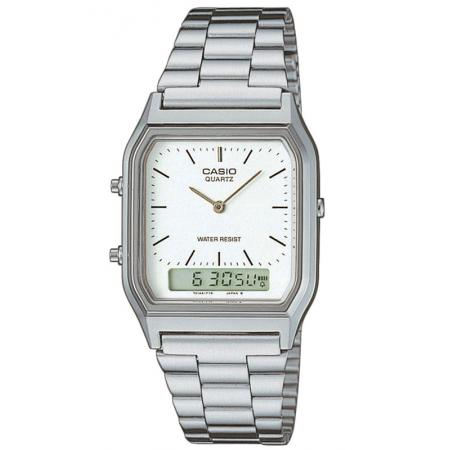 CASIO Digi-Analog Retro, GMT, Quartzuhr, silber weiss_1528