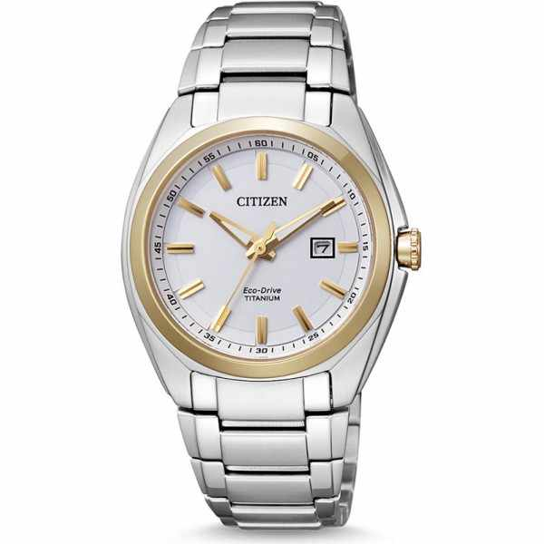_CITIZEN Damenuhr Super Titanium, Eco-Drive Solaruhr bicolor_15313