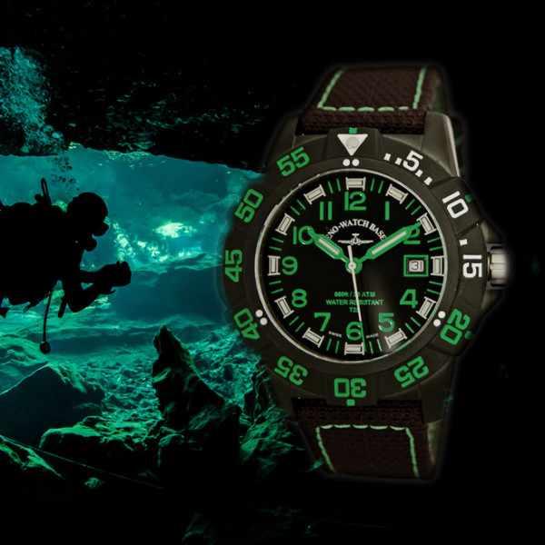ZENO-WATCH BASEL, H3 Fashion Diver, Lumiuhr, Edelstahl schwarz-grün_15324