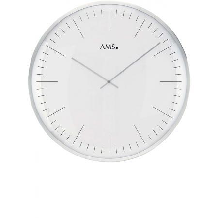 AMS, Bauhaus Quartzwanduhr, silber gross
