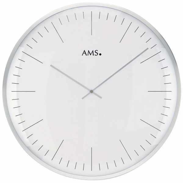 AMS, Bauhaus Quartzwanduhr, silber gross_15433