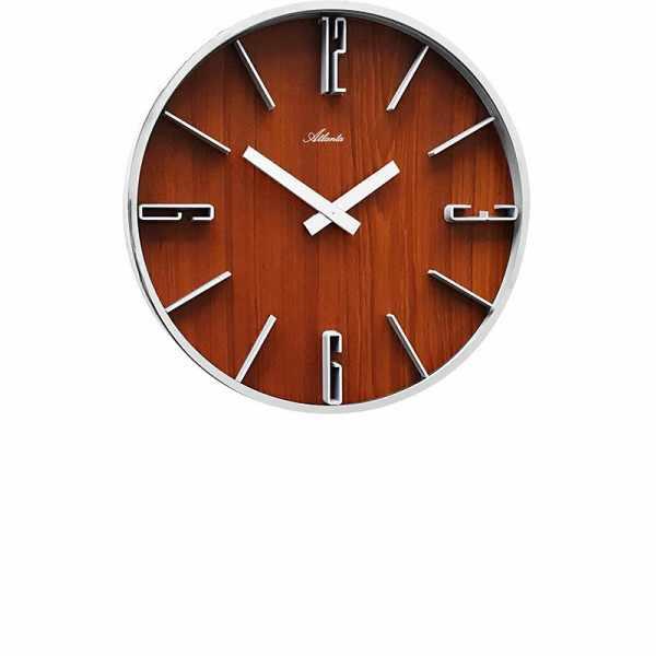 ATLANTA Wood Design Silent Quartz Wanduhr, Nussbaumoptik_15465