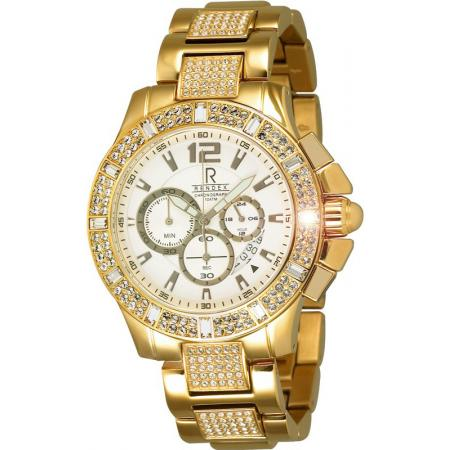 RENDEX, Bling-Bling, XL Chronograph, Quartzuhr, gold_15718