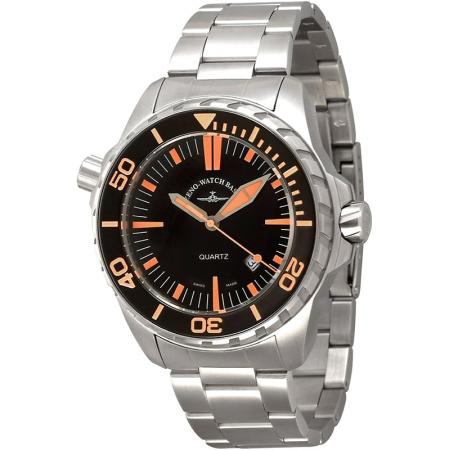 ZENO-WATCH BASEL, Pro Diver II, XL Quartz Taucheruhr schwarz-orange MB