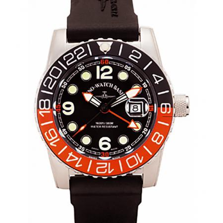 ZENO-WATCH BASEL, Airplane Diver, XL Taucheruhr GMT Quartz, orange